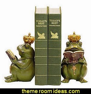 Frog Gatekeeper Bookends frog theme bedrooms - frog theme decor - frog themed gifts - froggy wallpaper murals - frog wall decals - frogs in a pond wall decor -  Frog Prince decor