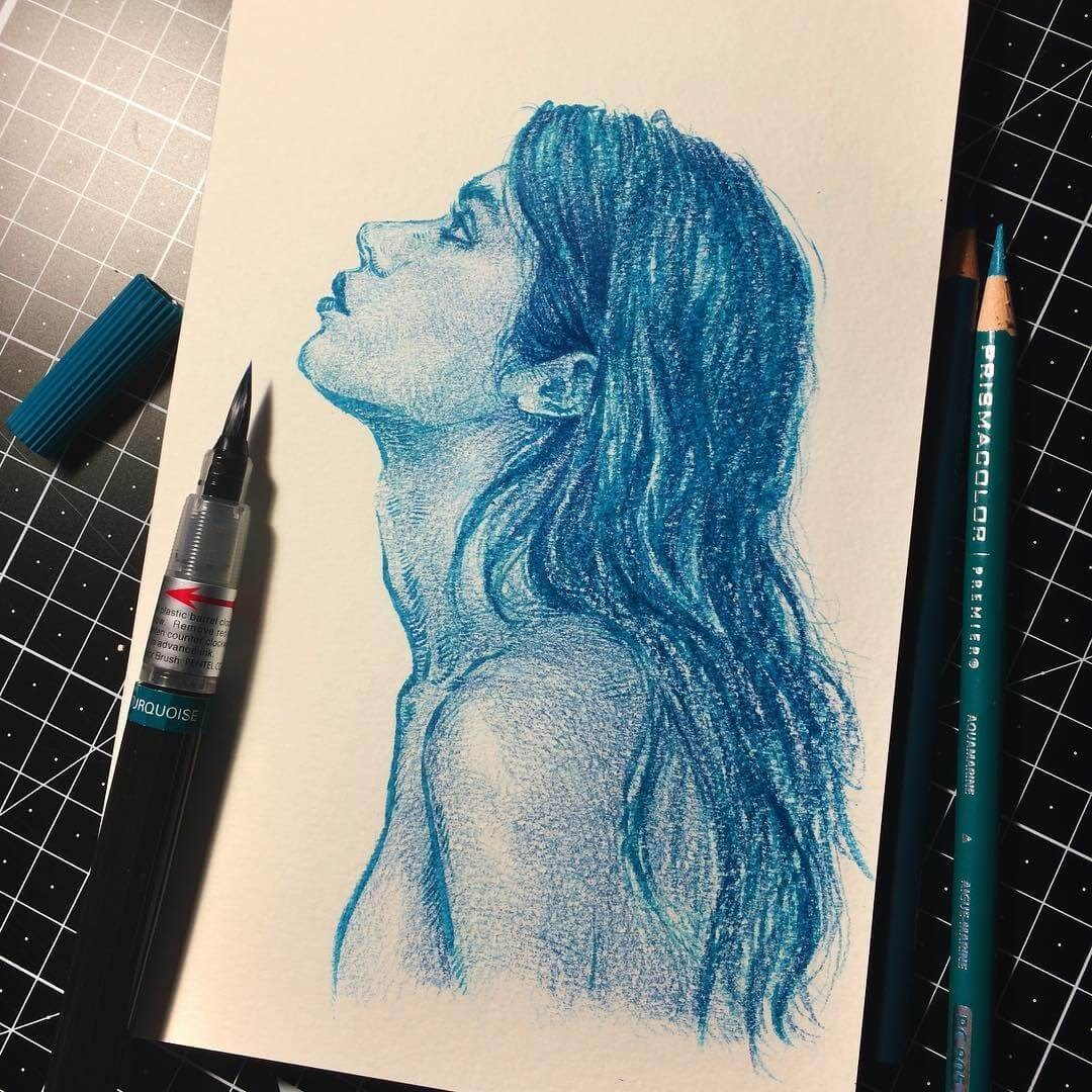 03-Turquoise-pencil-Uniquelab-Eclectic-Portraits-Different-Styles-and-Mediums-www-designstack-co