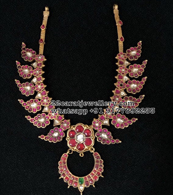 Light Weight Kundan Mango Necklace in SIlver