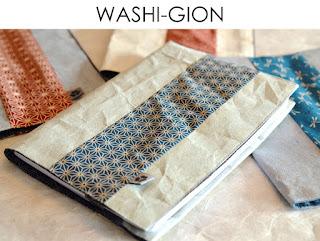 Buchhülle Washi Gion aus Japanpapier von Noriko handmade, handgemacht, Einzelstück, Unikat, Design, Hülle, Kalenderhülle, Notizbuchhülle