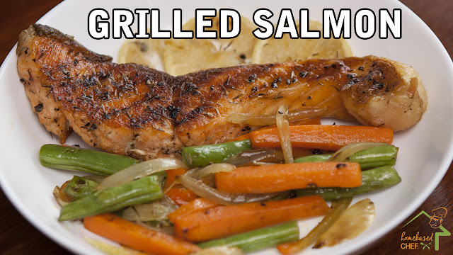 Grilled Salmon with Lemon & Thyme and Mixed Vegetables