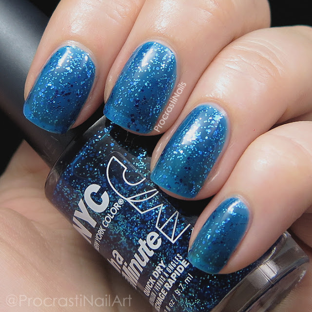 Swatch of the blue New York Color Sea of Diamonds glitter jelly polish