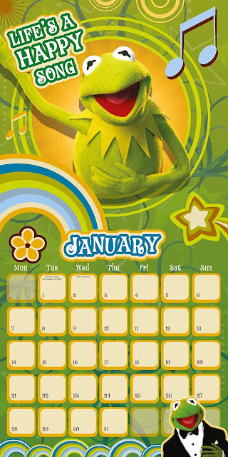 Kermit the Frog sings Life's A Happy Song on his page of the 2019 calendar.