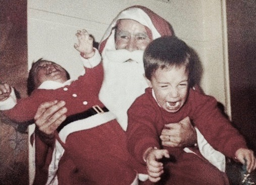 Young brothers want nothing to do with Santa. Santa appears to take it with good humor. c.1980s A Pleasant Christmas Story and other stories of Christmas Creepers. marchmatron.com