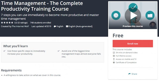 [100% Free] Time Management - The Complete Productivity Training Course
