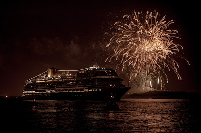 Fireworks at ms Koningsdam Dedication Ceremony. Photograph by Janie Robinson, Travel Writer