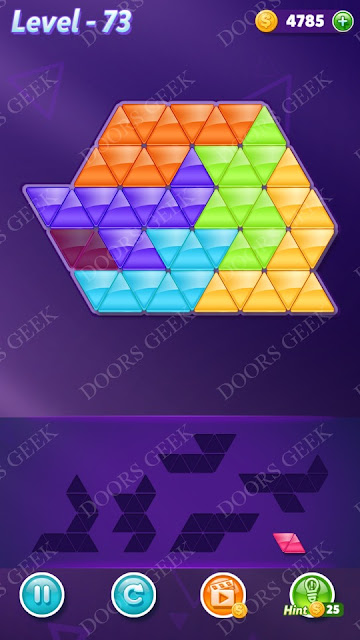 Block! Triangle Puzzle Intermediate Level 73 Solution, Cheats, Walkthrough for Android, iPhone, iPad and iPod