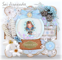 Magnolia Tilda in Cozy Coat Snow Globe Shaker Card