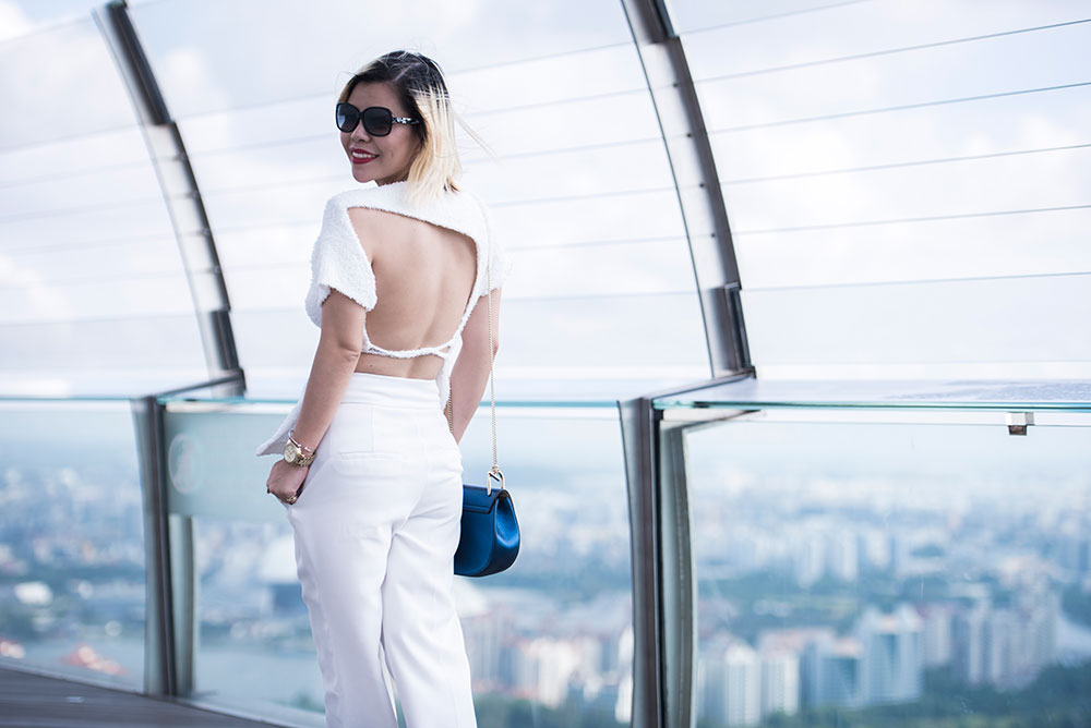 Crystal Phuong- Revolve Clothing: Marques Almeida bare back top, wide leg pants and Chloe bag