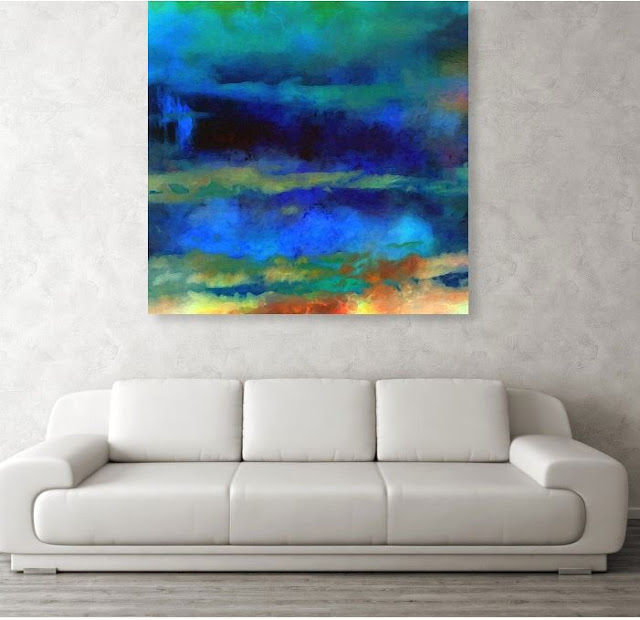 Art Blue Abstract by Artist Ricki Mountain