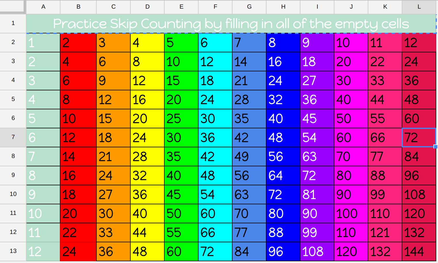 The Electric Educator Skip Counting With Spreadsheets