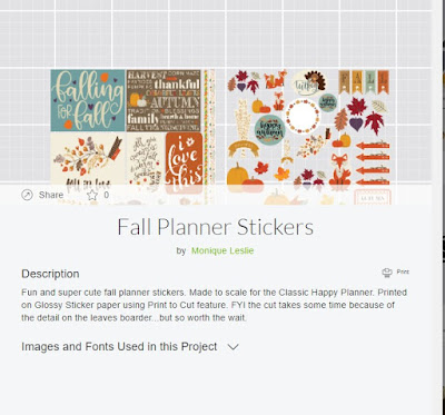 Cricut Design Space Fall Planner Stickers Project