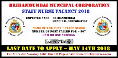 Brihanmumbai Muncipal Corporation 867 Staff Nurse Vacancy 2018