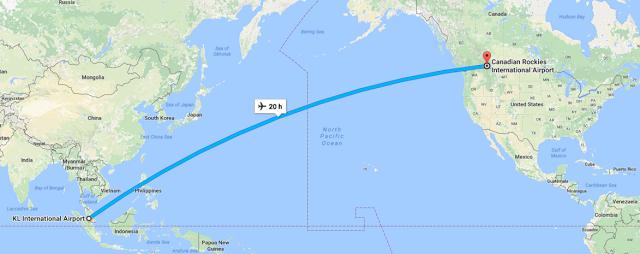 Jarak perjalanan dari Malaysia ke canada