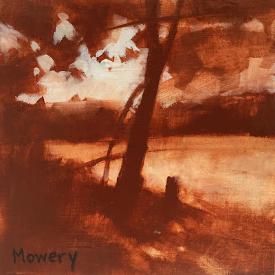Sepia and white painting of trees by Maryland artist Barb Mowery