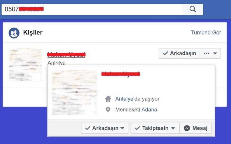 Facebook'tan yer bulmak için bulmak istediğiniz kişinin numarasını arama kutusuna yazmalısınız.