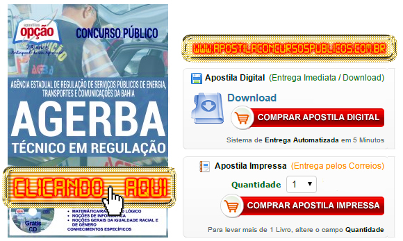 Apostila Concurso AGERBA 2016 Técnico em Regulação PDF Impressa