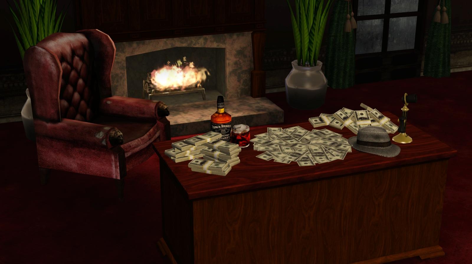 Ts3 pile of money noir and dark sims for Decor 4