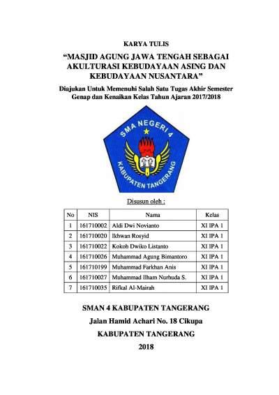Karya Tulis Ilmiah Study Tour Masjid Agung Jawa Tengah Kokoh Dwiko Listanto
