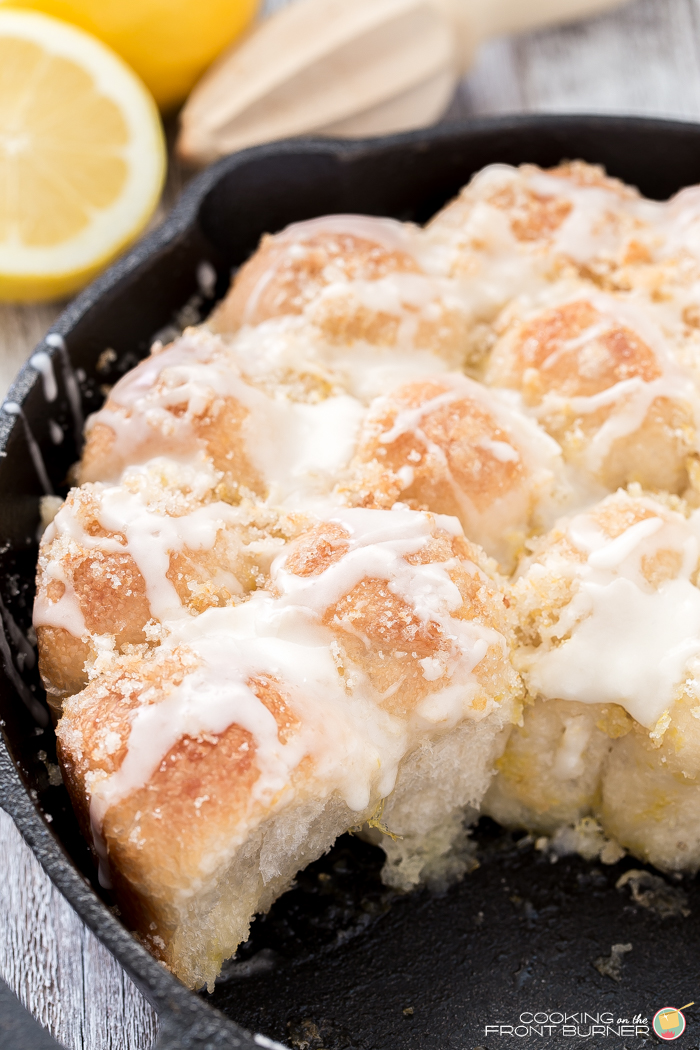 Pucker up citrus lover and enjoy these easy lemon glazed, lemon pull apart rolls.  Made and served in one skillet!  Perfect for breakfast, brunch, Easter, Mother's Day and more!