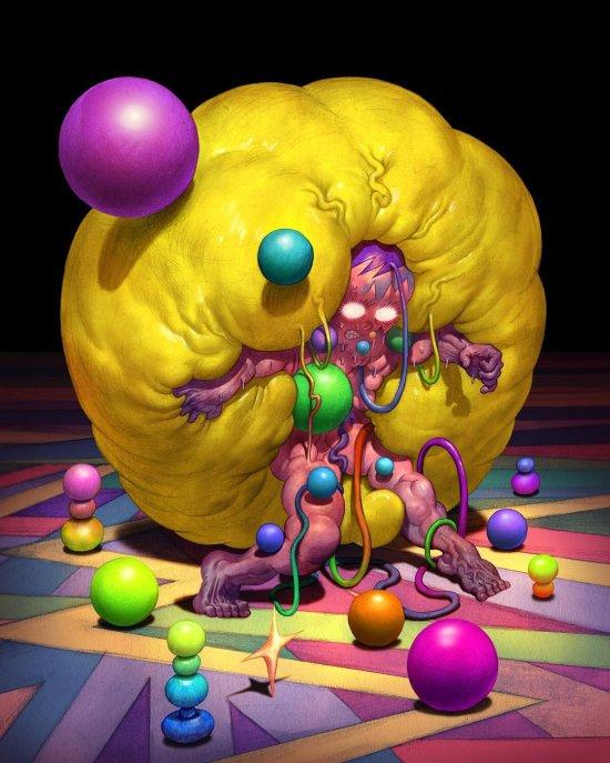 Hongmin Lee pinturas coloridas surreais psicodélicas sombrias macabras