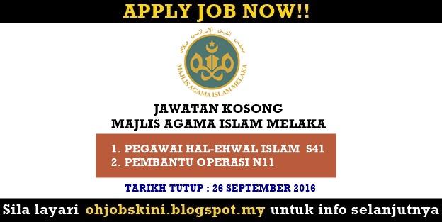 Jawatan Kosong Majlis Agama Islam Melaka (MAIM)