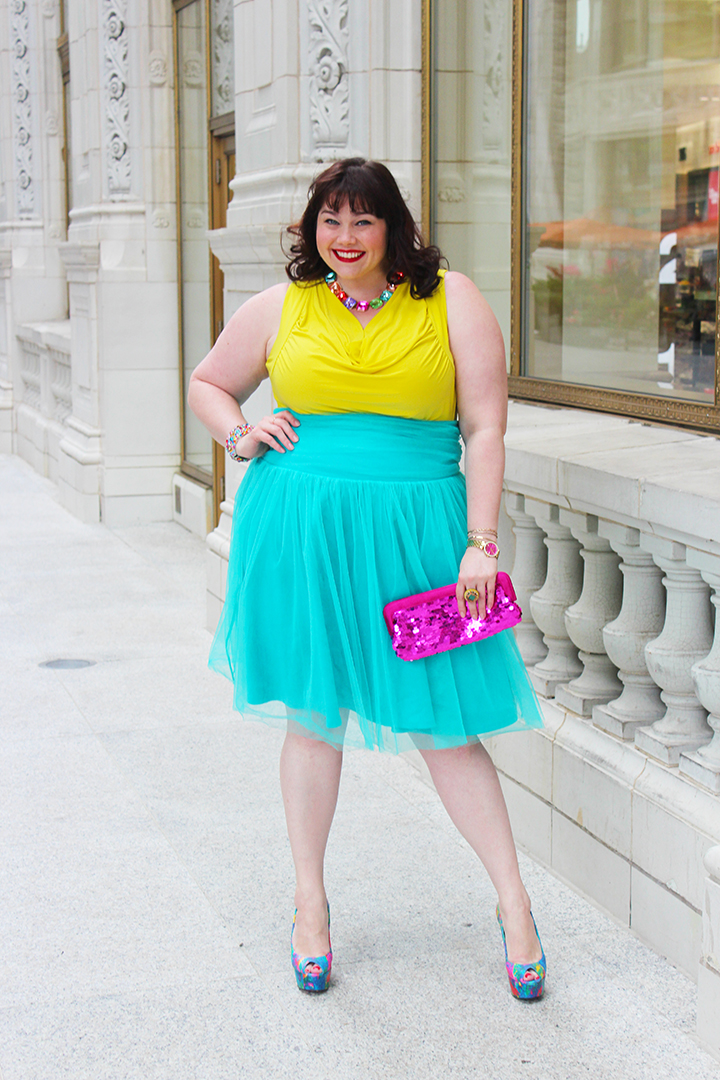 Plus Size Blogger Amber from Style Plus Curves in Kiyonna Twirling in Tulle Skirt from Gwynnie Bee