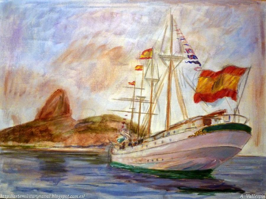 Pintura al oleo del buque Juan Sebastián Elcano en Rio de Janeiro visto desde popa  engalanado