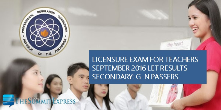 G-N List of Passers Secondary LET Results September 2016