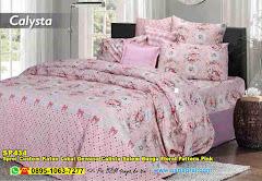 Sprei Custom Katun Lokal Dewasa Calista Salem Bunga Floral Pattern Pink