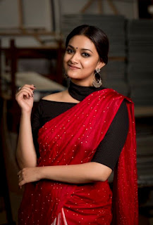 Keerthy Suresh in Saree with Cute and Lovely Smile at Pandem Kodi 2 Success Meet 1