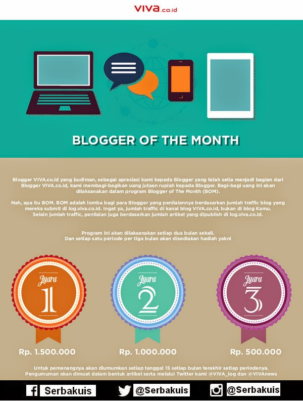 Viva Blogger Of The Month Berhadiah 3 Juta per Bulan