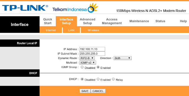 Setting IP lokal di router TP-LINK