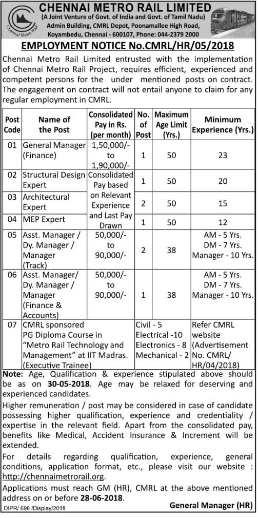 Chennai Metro (CMRL) Vacancy Notification Maya 30, 2018