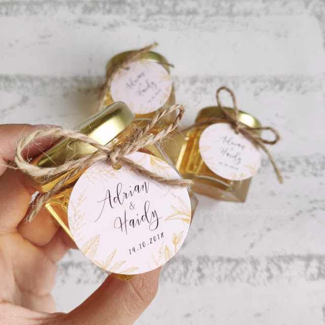 Honey Jar with String and Tag - Pink and Gold Rustic - Kuala Lumpur, Malaysia