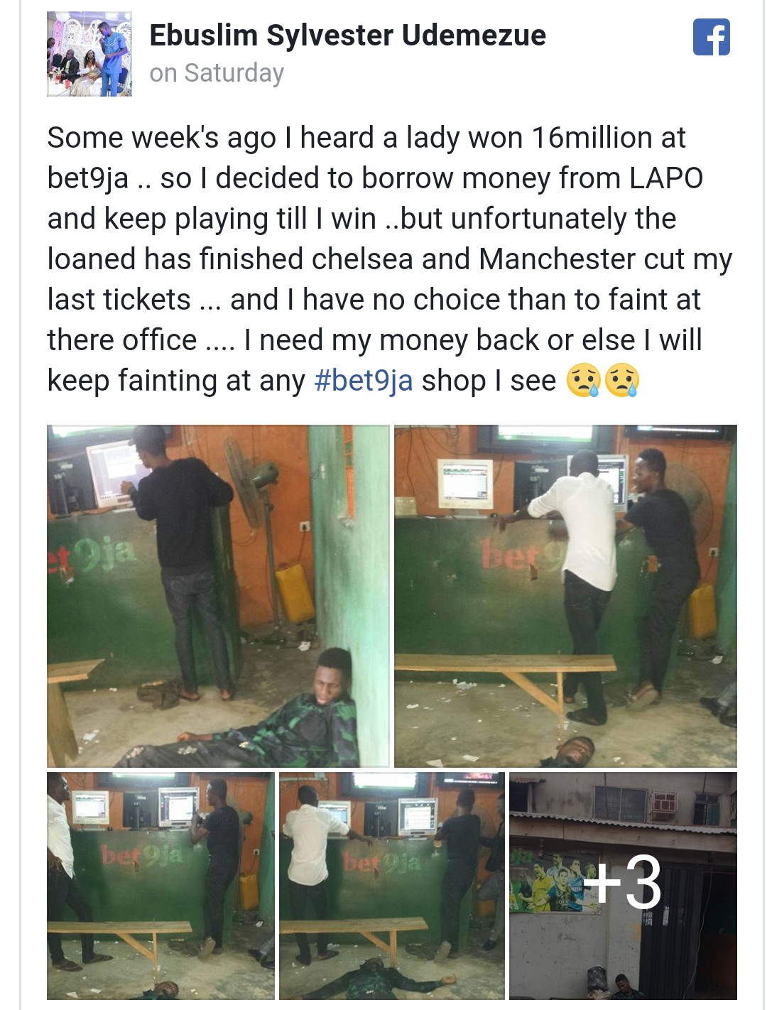 9ja Discoveries: Nigerian man faints in sport betting shop after