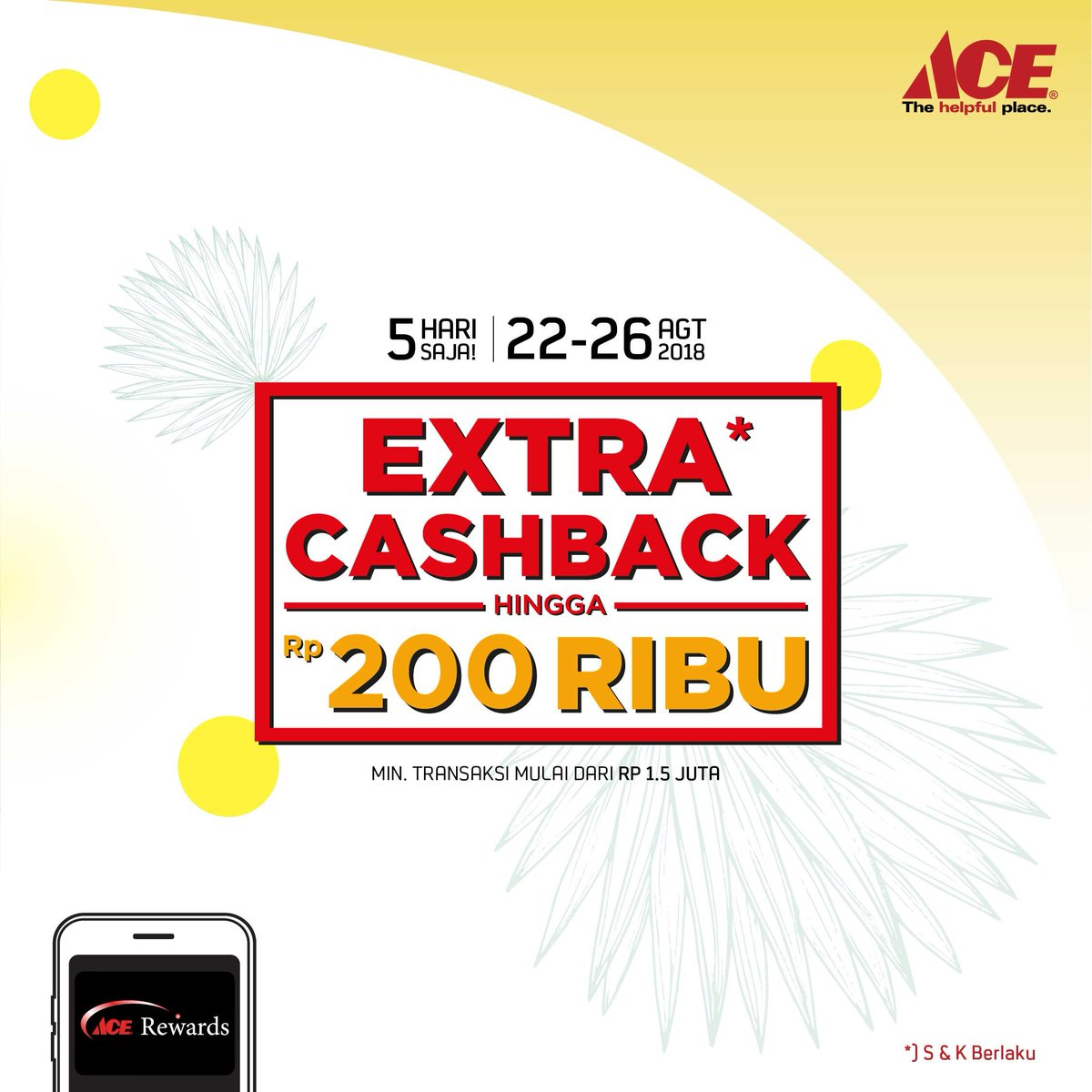 AceHardware - Promo Extra Cashback s.d 200 Ribu (s.d 26 Agustus 2018)
