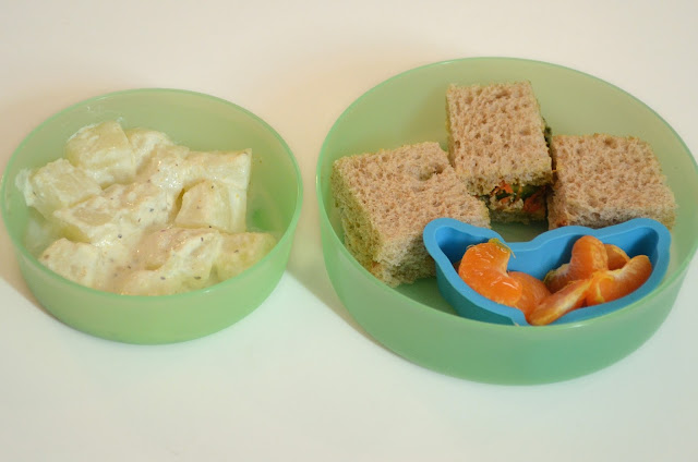 Aloo Salad And Veggie Sandwich - Kids Lunch Box Recipe