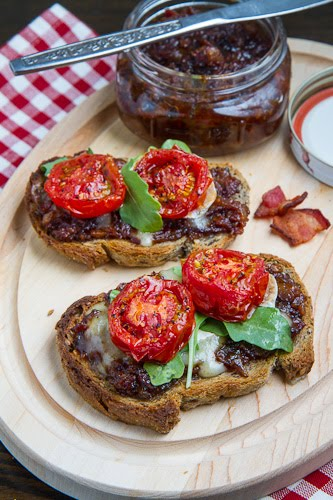 Bacon Jam Crostini with Melted Brie and Roasted Tomatoes