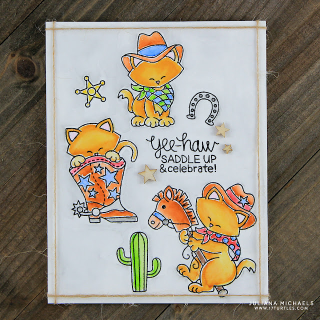 Yee Haw Birthday Card by Juliana Michaels featuring Newton's Nook Designs Newton Rides West Stamp Set