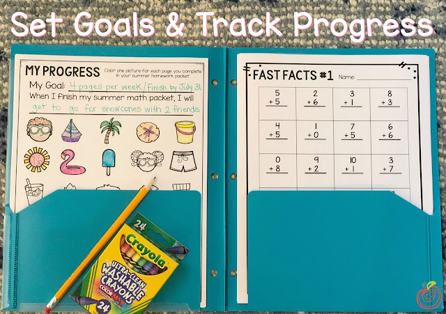 Set goals and track progress with this summer math packet resource from TheHappyTeacher