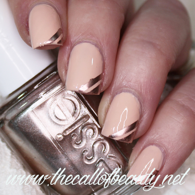 Peach and Rose Gold Tape Mani