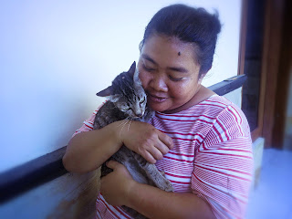 A Woman With Her Lovely Cat The Pet in the House North Bali Indonesia