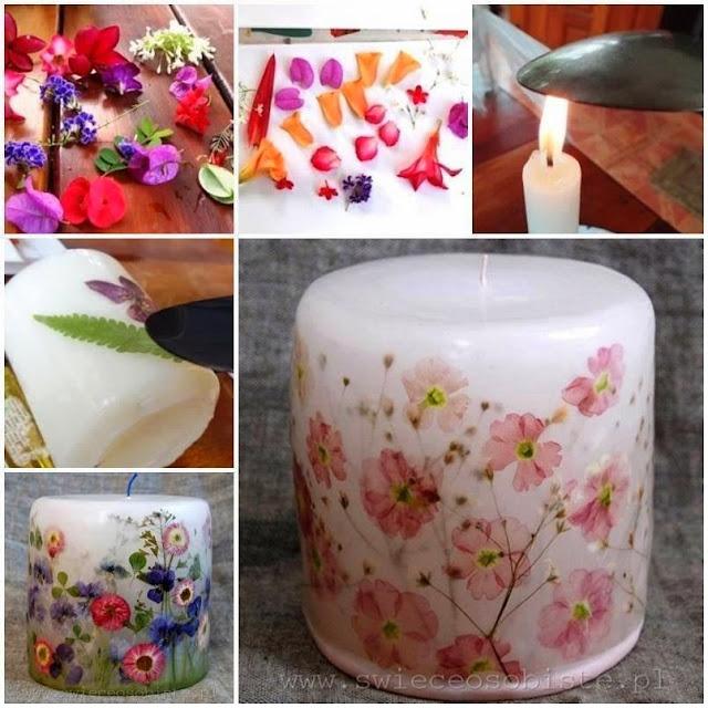 DIY : Lilin Bercorak Guna Bunga-bungaan