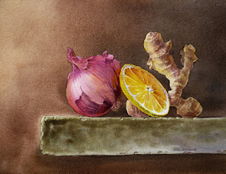 watercolor realism Old Masters Dutch stilllife style
