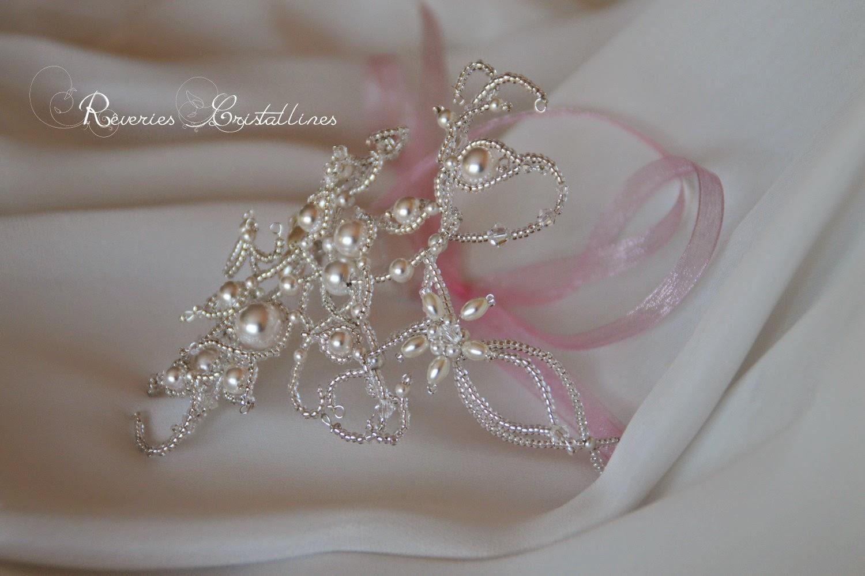 accessoire bras mariée romantique blanc et rose
