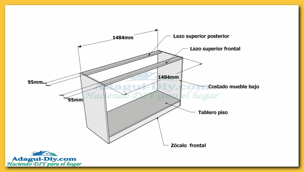 Como hacer muebles de cocina plano mueble bajo mesada de for Medidas muebles