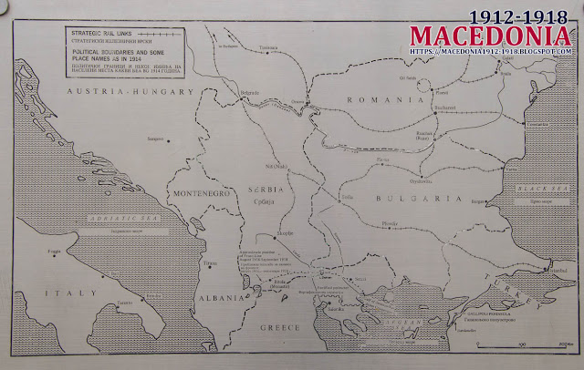 Map with the Macedonian front - British Military WW1 Cemetery in Skopje