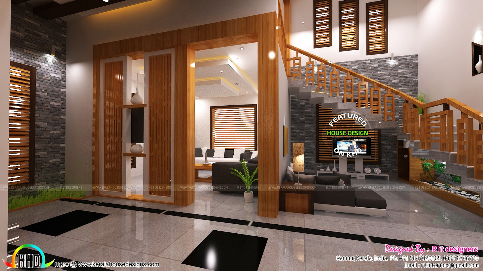 Living foyer under stair interiors kerala home design for House plans with inside photos