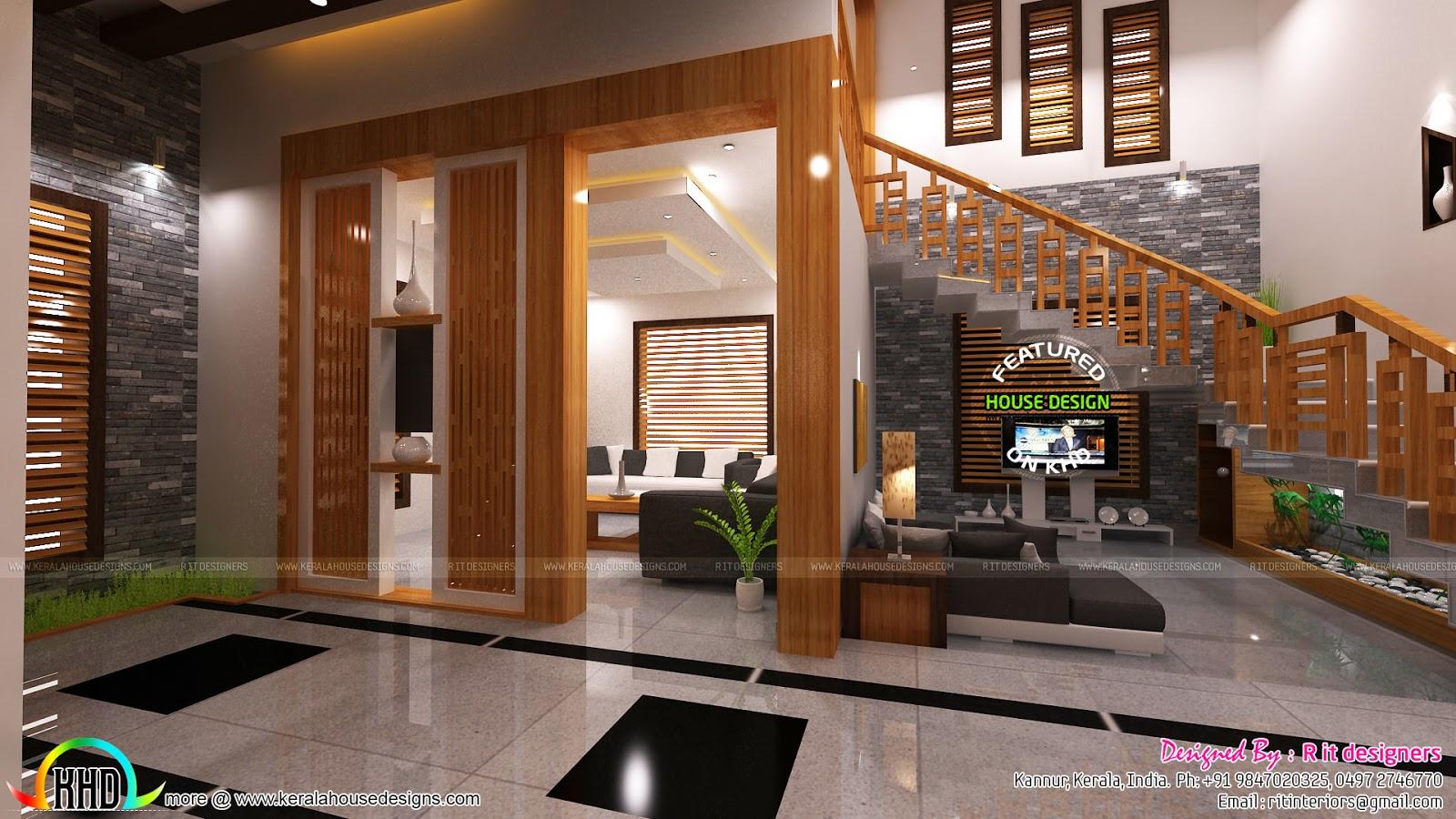 Living, foyer, under stair interiors - Kerala home design ...